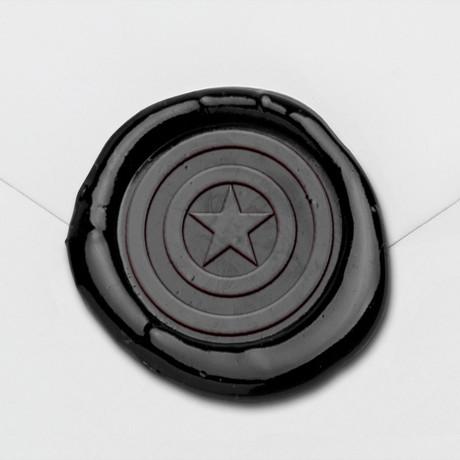 Star Shield Wax Seal Stamp Kit (Beech Handle)