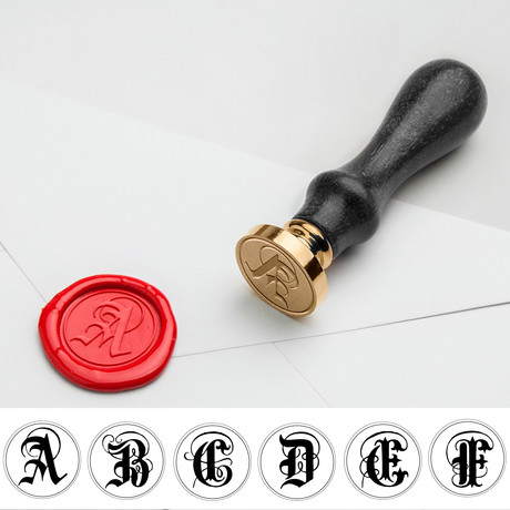 Gothic Single Initial Wax Seal Stamp Kit // Black Handle // CHOOSE YOUR LETTER