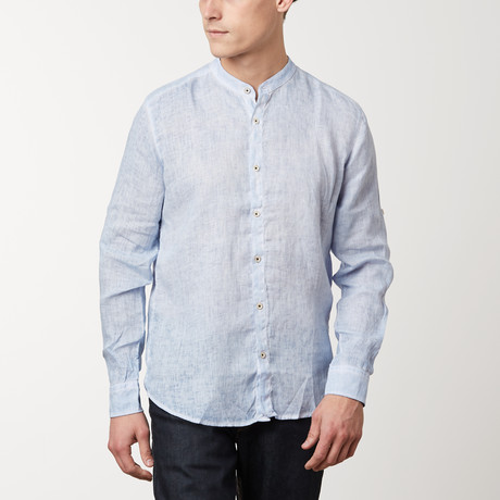 Band Collar Button Down Linen Shirt // Blue