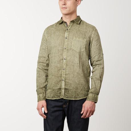 Italian Collared Linen Pocket Shirt // Khaki