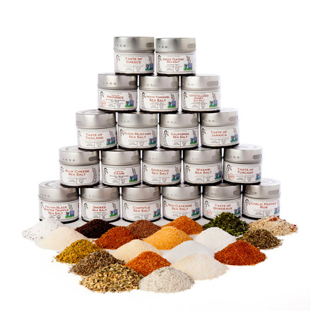 Complete Artisan BBQ Seasoning + Gourmet Sea Salt Collection // Set of 20