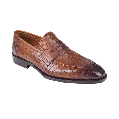 Croc Embossed Penny Loafer  // Tobacco Crocodile (Euro: 39)