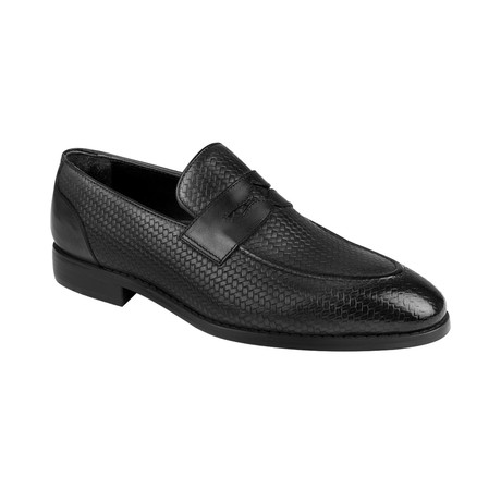 Weave Embossed Penny Loafer  // Black Straw (Euro: 39)