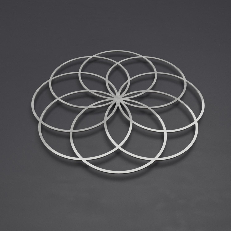 Seed Of Life Iii 3D Metal Wall Art Sculpture (24W