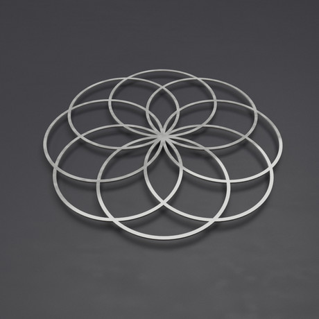 "Seed of Life III 3D Metal Wall Art Sculpture (24""W x 24""H x 0.25""D)"