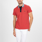Hartford Short Sleeve Polo Shirt // Coral + Navy (M)