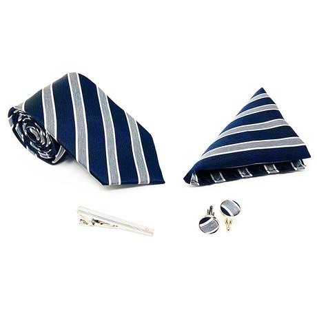 Silk 4 Piece Tie Set 102 // Navy + Grey
