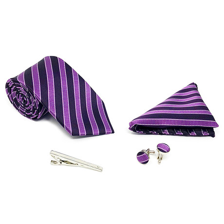 Silk 4 Piece Tie Set 105 // Purple