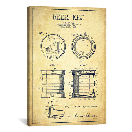 Beer Keg Vintage Patent Blueprint // Aged Pixel