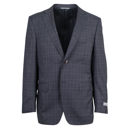 Canali // Check Wool Slim Fit Suit // Gray (US: 46S)