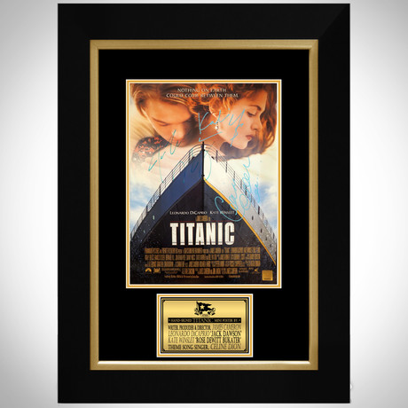 Titanic // Leonardo Dicaprio + Kate Winslet + James Cameron + Celine Dion Signed Photo // Custom Fra...