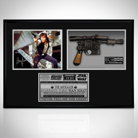Han Solo + Replica DL-44 // Harrison Ford Signed Photo // Custom Shadow Box Frame