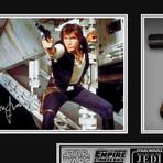 Han Solo + Replica DL-44 // Harrison Ford Signed Photo // Custom Shadow Box Frame