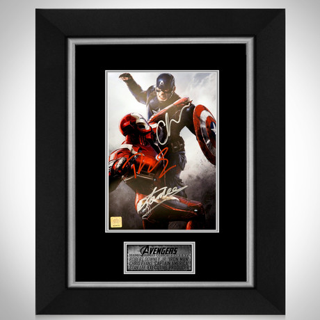 Captain America Vs. Ironman // Robert Downey Jr. + Chris Evans + Stan Lee Signed Photo // Custom Frame