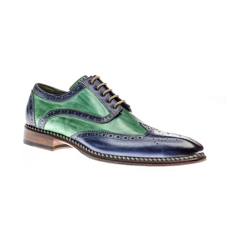 Veloce Wing-Tip Derby // Blue + Green (Euro: 39.5)