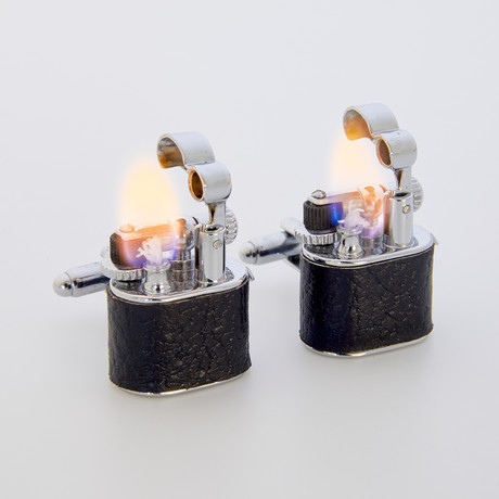 Working Lighter Cufflinks // Leather Wrapped