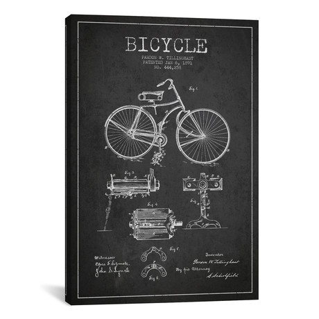 "Bike Charcoal Patent Blueprint // Aged Pixel (12""W x 18""H x 0.75""D)"