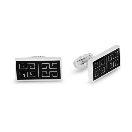 Stainless Steel + Black Ip Greek Key Cufflinks