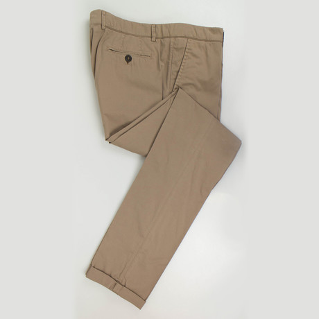 Cotton Blend Single Pleat Casual Pants // Brown (Euro: 50)