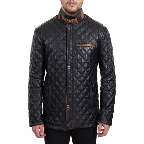 Quilted Snap Button Jacket // Black