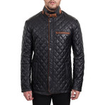 Quilted Snap Button Jacket // Black (L)