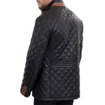 Quilted Snap Button Jacket // Black (2XL)