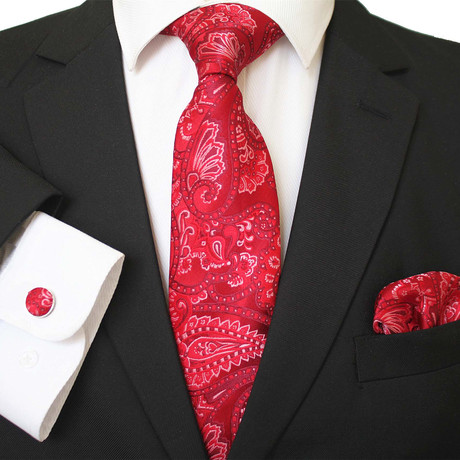 3 Piece Matching Neck Tie Set + Gift Box // Rose Candy Red + White Paisley
