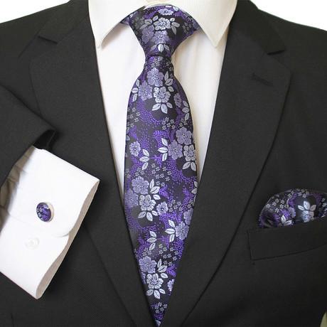 3 Piece Matching Neck Tie Set + Gift Box // Purple Silver + Black Floral