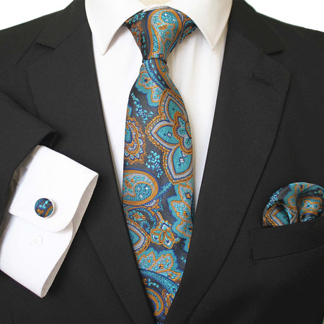 3 Piece Matching Neck Tie Set + Gift Box // Multi Color Blue + Gold Paisley