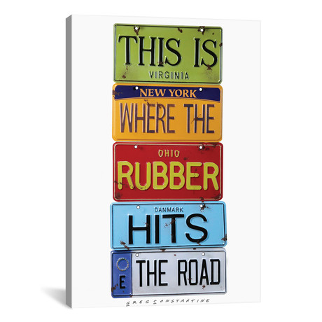"Rubber Meets The Road // Gregory Constantine (12""W x 18""H x 0.75""D)"
