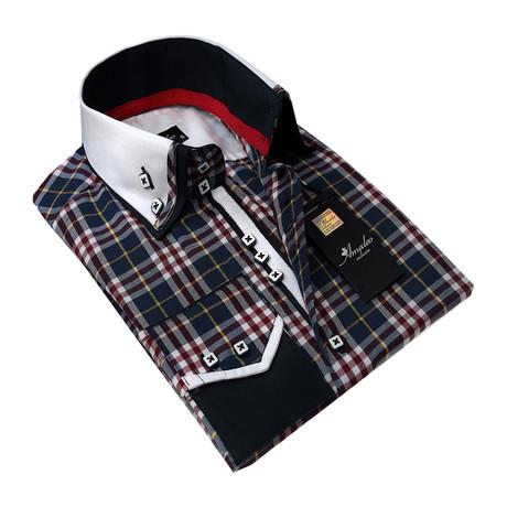 Reversible Cuff Button-Down Shirt // Navy Blue Plaid (S)