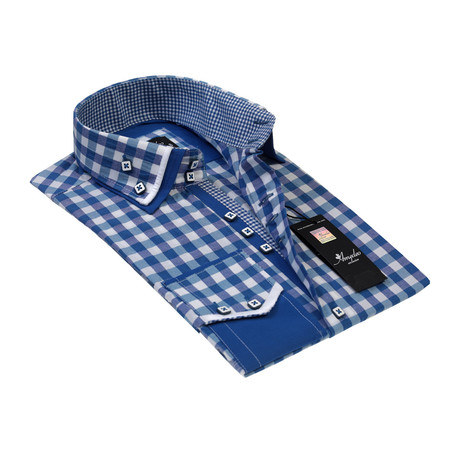 Reversible Cuff Button-Down Shirt // Blue + White Checkered (S)