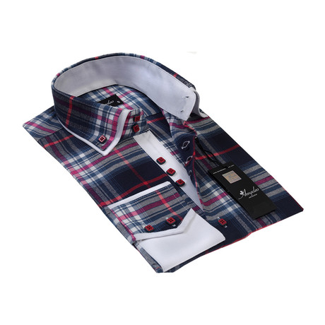 Reversible Cuff Button-Down Shirt // Colorful Check (S)