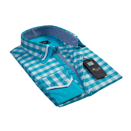 Reversible Cuff Button-Down Shirt // Light Blue + White Check (S)