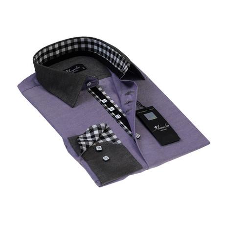 Reversible Cuff Button-Down Shirt // Checkered Purple (S)