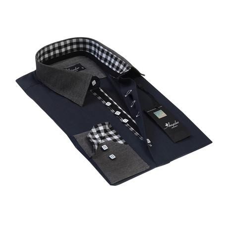 Reversible Cuff Button-Down Shirt // Navy + Gray + Checkered Cuff (S)