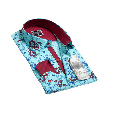 Reversible Cuff Button-Down Shirt // Turquoise Blue Paisley (S)