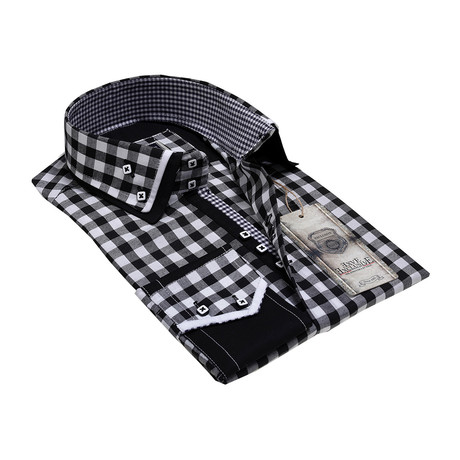 Reversible Cuff Button-Down Shirt // Black + White Checkers (S)