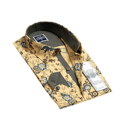 Reversible Cuff Button-Down Shirt // Yellow Floral (S)