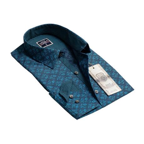 Reversible Cuff Button-Down Shirt // Blue Floral (S)