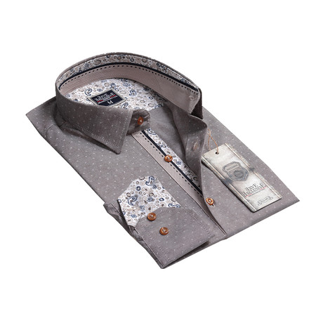 Reversible Cuff Button-Up Shirt // Gray Paisley (S)