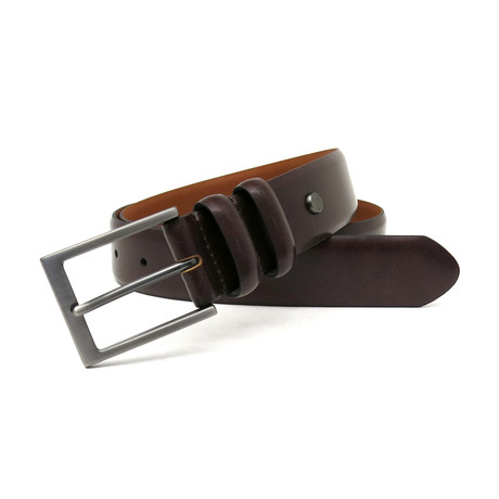 Carter Genuine Leather Feather Edge Texture printed Belt // Cognac (32)