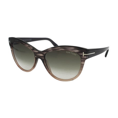 Tom Ford // Women's Lily Sunglasses // Gray + Green Gradient