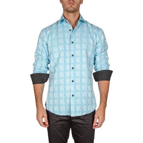 Wilford Long-Sleeve Button-Up Shirt // Turquoise