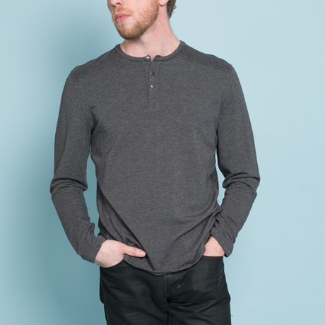 Three Button Henley French Terry // Charcoal Heather (S)