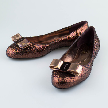 Varina Glitter Ballet Flats // Brown
