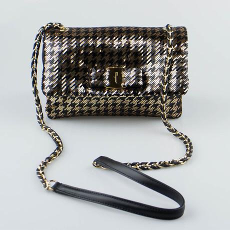 Metallic Mini Vara Flap Shoulder Bag // Black + Gold