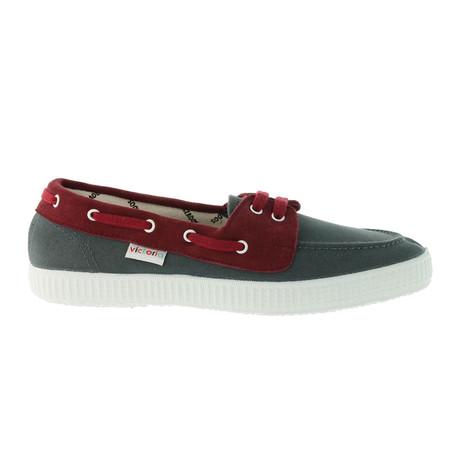 Nautico Cotton + Suede Boat Shoes // Antracita + Burdeos