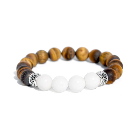 "Limelight Beaded Bracelet // Silver + Brown (7"")"