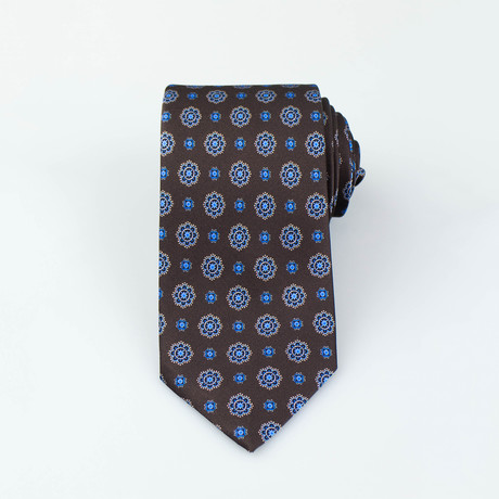 Brioni // Pierre Silk Tie // Brown + Blue